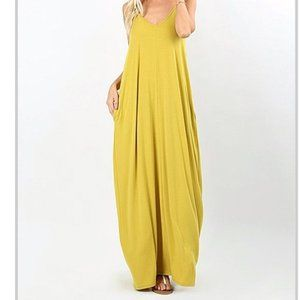 Zenana premium MAXI yellow dress